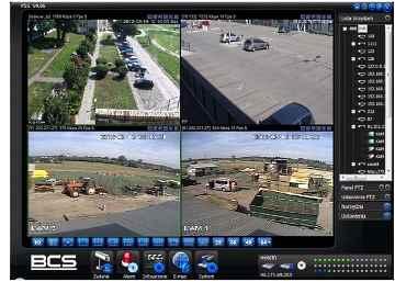 Obraz z 4 kamer wyświetlany za pomocą rejestratora
